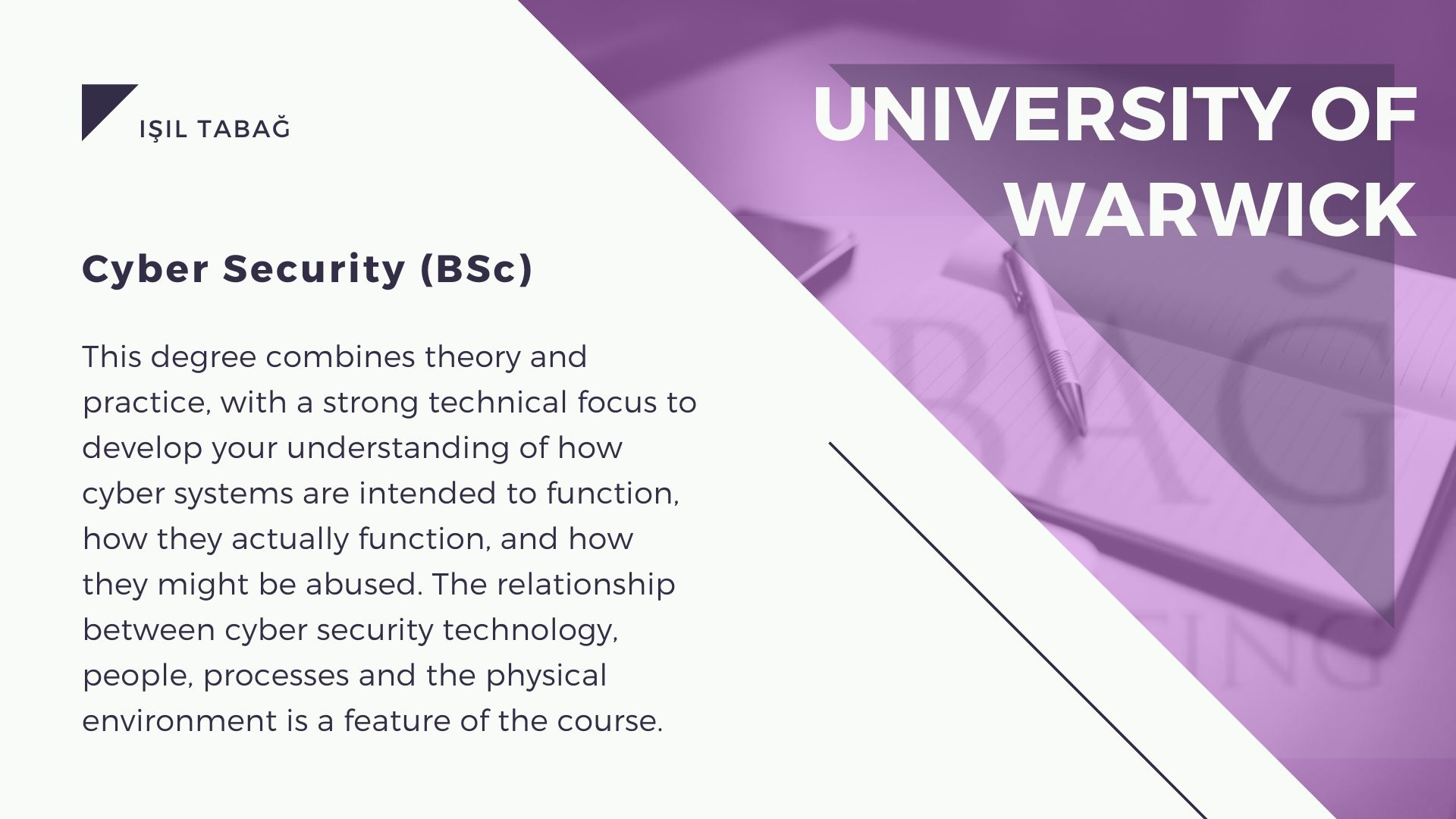 University Of Warwick Cyber Security - Isil Tabag