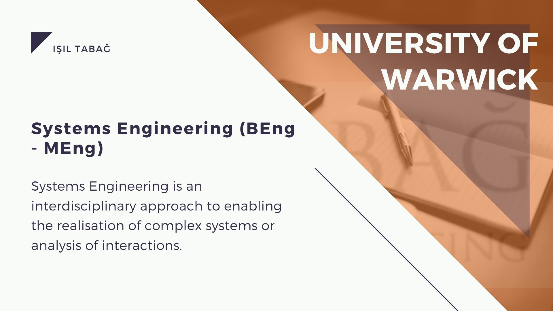 Warwick Systems Engineering Isil Tabag